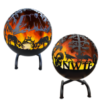 GREAT BALL OF FIRE WILDLIFE SCENE EMBELLISHED FIRE PIT